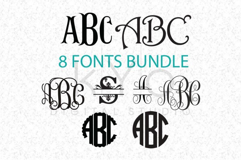 Download Free Cricut Fonts Bundle SVG (Not Typing), Monogram ...