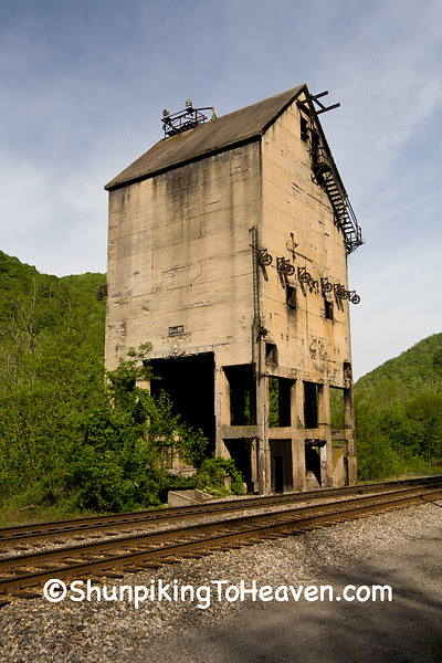 Coaling Tower and Sand House of the C&O Railroad,1922, Thurmond, West Virginia