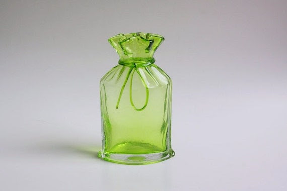 Green Art Glass Bag Vase - 80s