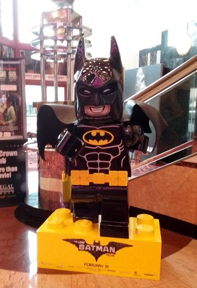 A giant display of Batman (voiced by Will Arnett) from THE LEGO BATMAN MOVIE inside Edwards Cinema at the Irvine Spectrum...on December 31, 2016.