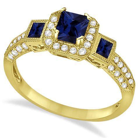 Blue Sapphire & Diamond Engagement Ring 14k Yellow Gold 1