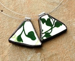 You ComPlate Me Matching Broken Plate Friendship Necklaces green leaf