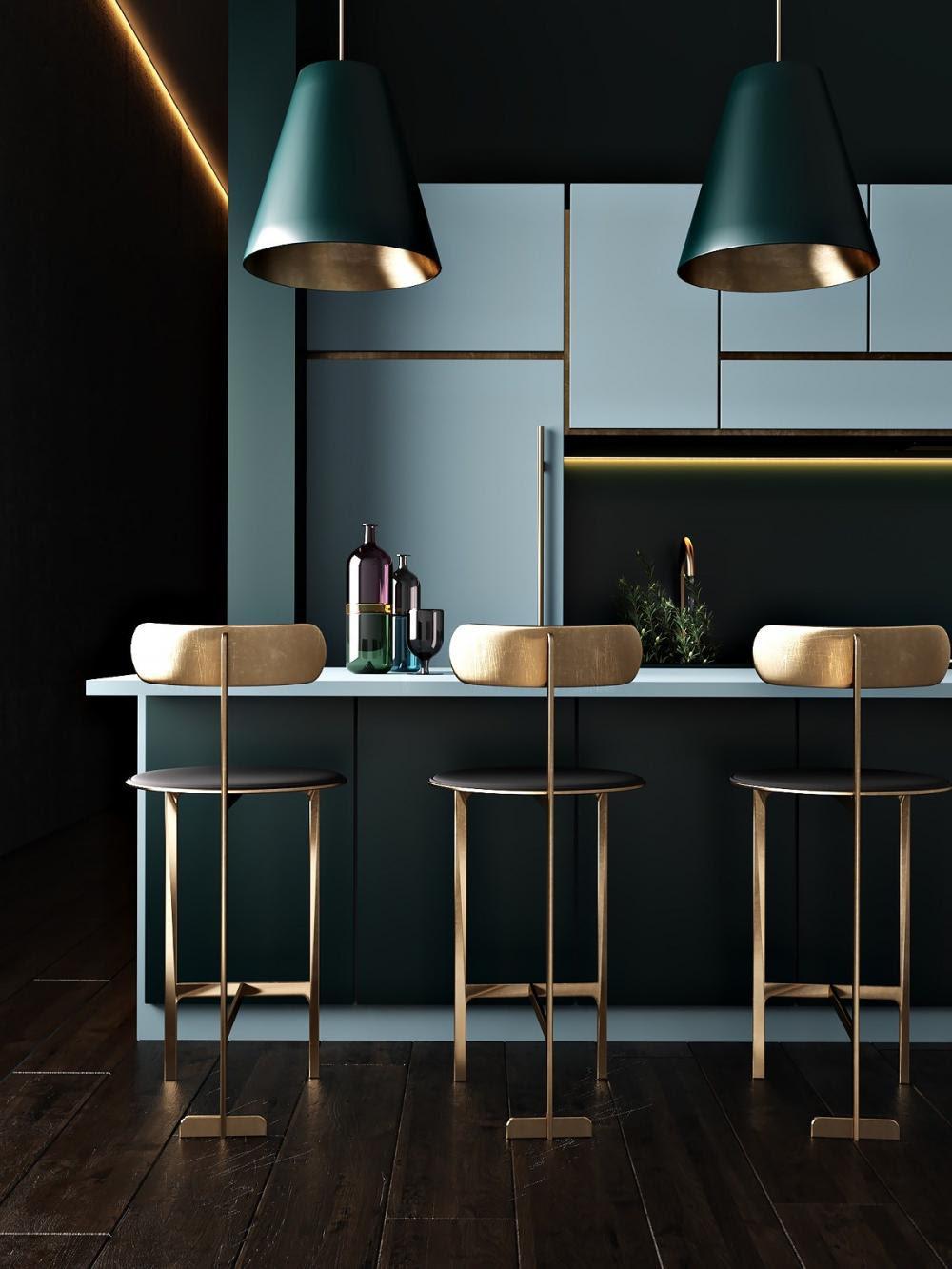 Gam màu xanh trong phòng bếp