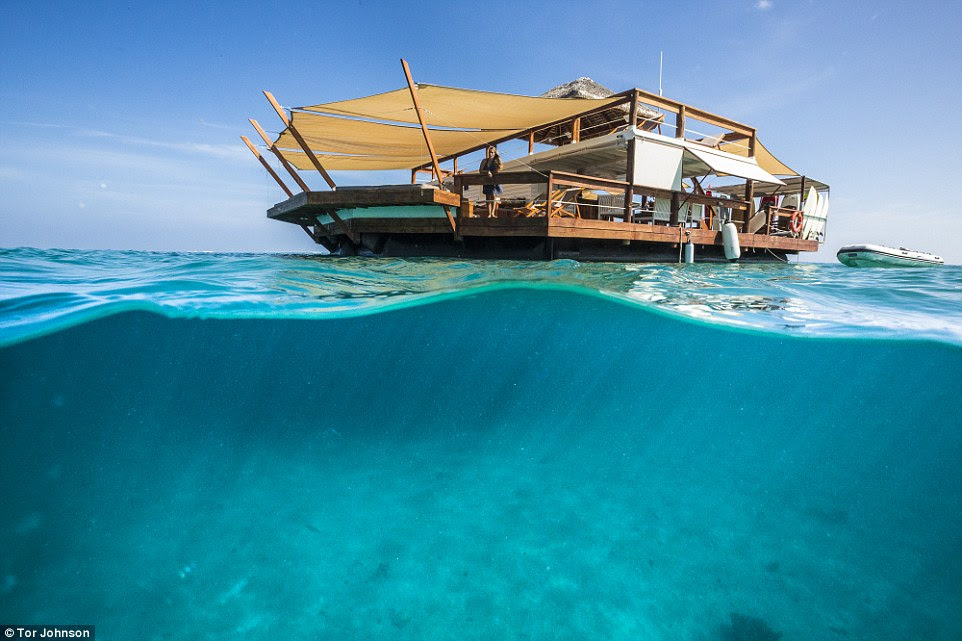 Once aboard, and fed, guests can relax overlooking the crystal clear waters of Vanua Malolo on Ro Ro Reef