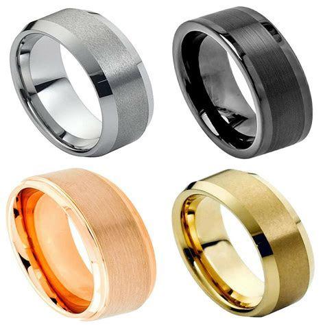 Black Tungsten Carbide Wedding Band Ring Mens Jewelry