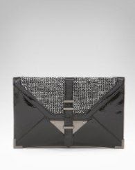 Bebe Tweed Metal Envelope Clutch