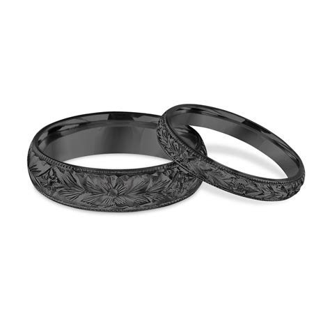 Hand Engraved Matching Wedding Bands, His and Hers Wedding