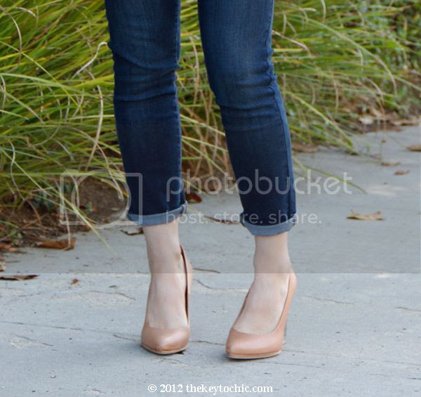 Maison Martin Margiela H&M tan invisible wedge pumps, nude wedges with lucite heels, Old Navy super skinny jeans, Los Angeles fashion blog