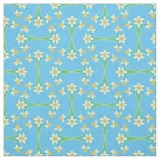 Custom Spring Daffodils on Sky Blue Pattern Fabric