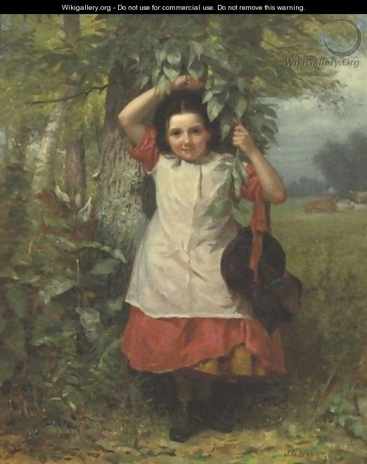 Little Girl In A Red Dress And White Pinafore - John George Brown