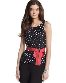 White House Black Market Polka Dot A-Line Shell