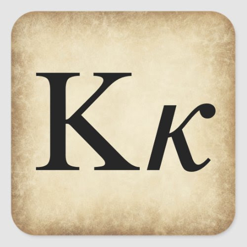 Greek Alphabet Letter Kappa Square Sticker