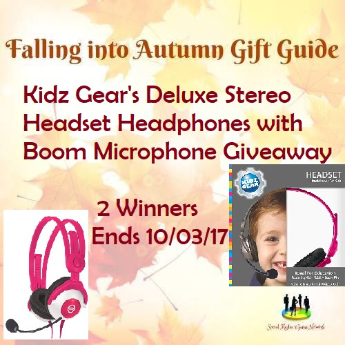 Enter the  Kidz Gear's Deluxe Stereo Headset Headphones with Boom Microphone Giveaway. Ends 10/3