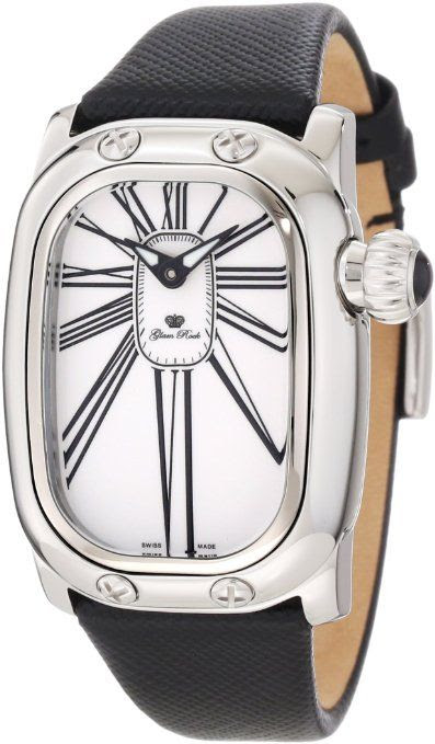 GORGEOUS GLAM Rock Women's GR72005-BLK Monogram White Dial Leather Watch $610, 77% SAVINGS