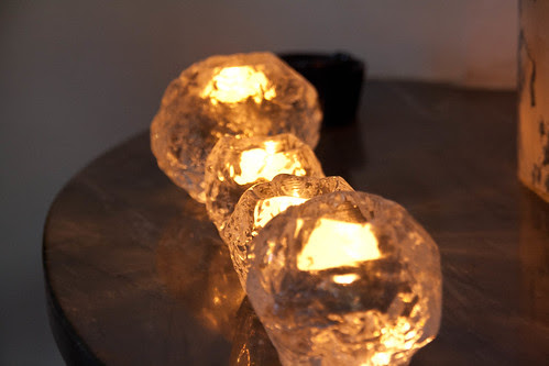 Glass candlelit snowballs