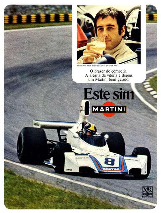 O prazer de competir. A alegria da vitória e depois um Martini bem gelado. Este sim. Martini. (Com José Carlos Pace)