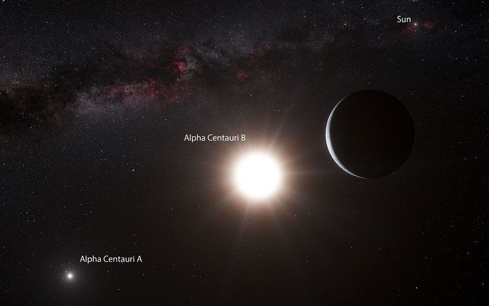 Artist's impression of the planet around Alpha Centauri B. Credit: ESO