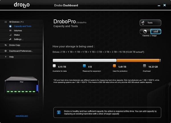 Drobo Dashboard - Capacity and Tools