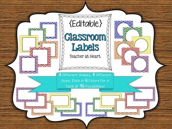 Editable} Labels - Primary Color Chevron by Teacher at Heart ...