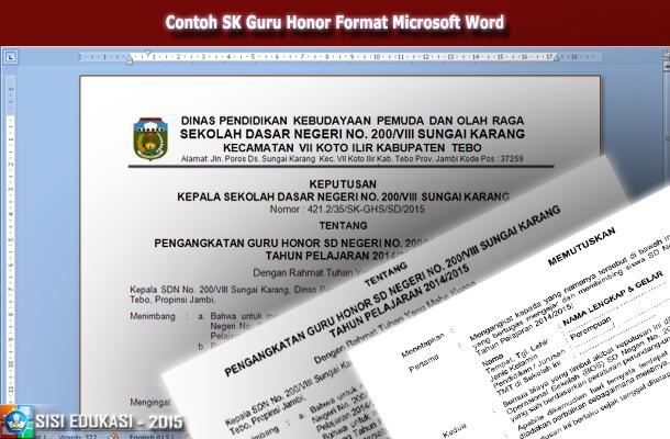 Contoh SK Pengangkatan Guru Honor Format Microsoft Word
