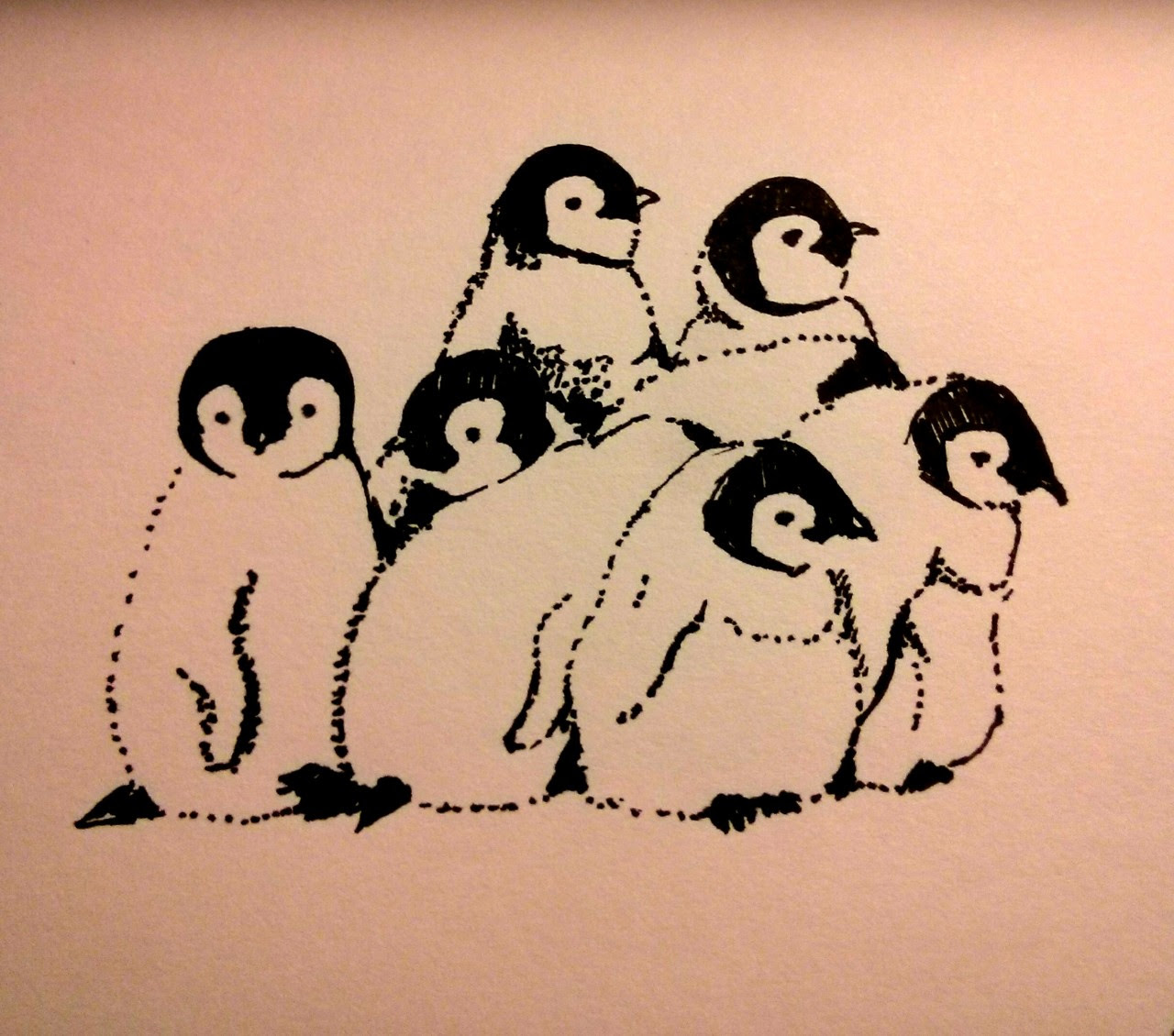 http://hazeyk.tumblr.com/post/73029040568/daily-draw-63-a-pile-of-baby-penguins