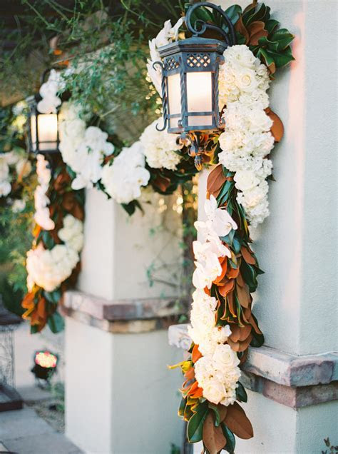 Garland with White Roses and Magnolia Leaves   Elizabeth