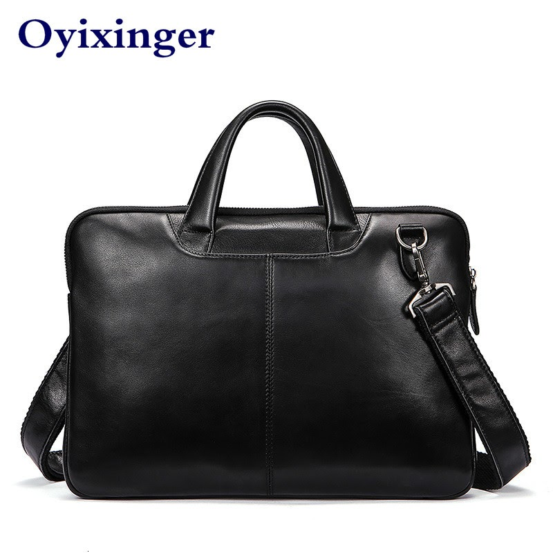 TOP !! High Quality Men Briefcases Bag Business Men's Laptop Bag Genuine Leather Briefcase Men Leather Briefcases Male Bolso Hombre New
