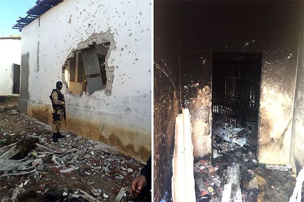 detentos quebraram cadeados, arrancaram grades das celas, arrombaram paredes e incendiaram colchões e lençóis (Foto: Divulgação/Polícia Militar)