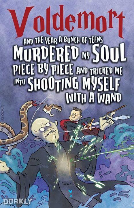 """Tradução livre: """"Voldemort - E o ano em que um grupo de adolescentes assassinaram a minha alma pedaço por pedaço e me levaram a atirar em mim mesmo com uma varinha"""""""