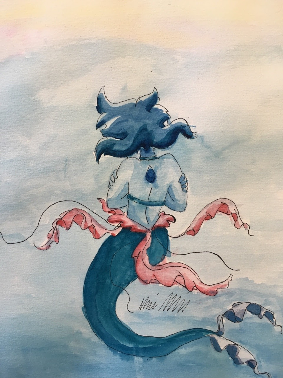 I dunno why but Lapis mermaid with jellyfish tendrils appeals to me very much. Watercolor