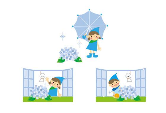 無料素材 かわいい男の子と女の子を描いた梅雨のフリーイラスト素材セット