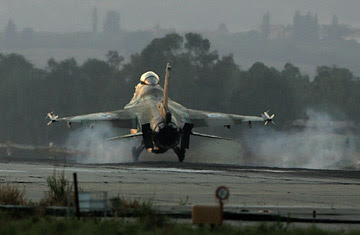 An Israeli F16C Jet fighter returns to Ramat David air force base in northern Israel.