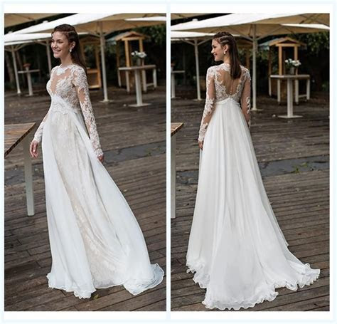 Empire Maternity Wedding Dresses Lace And Chiffon Long