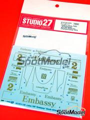 Studio27: Calcas escala 1/20 - Lotus Ford 72D Embassy Nº 2 - Eddie Keizan - Gran Premio de Sudafrica 1975 - para kit de Ebbro EBR20009
