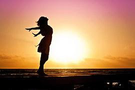Woman, Happiness, Sunrise, Silhouette