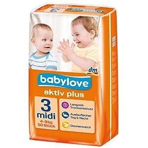 Babylove Windeln Größe Midi 4-9 kg, 2er Pack (2 x 50 Stück)