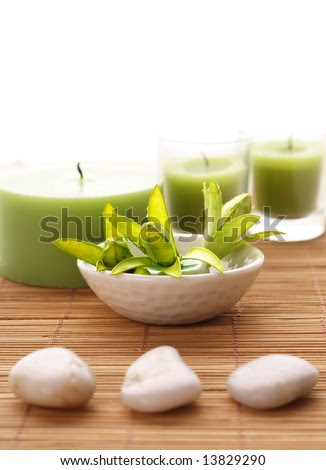 Pebbles, Candles And Flowers. Spa Decoration Stock Photo 13829290 ...