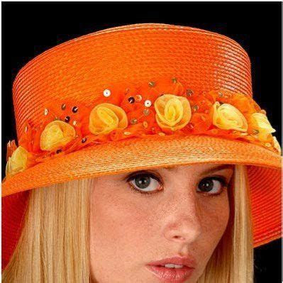 AC7020 Summer ladies Orange Yellow organza flowers hat