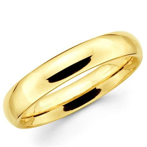 14K Solid Yellow Gold 4mm Plain Men's and Women's Wedding