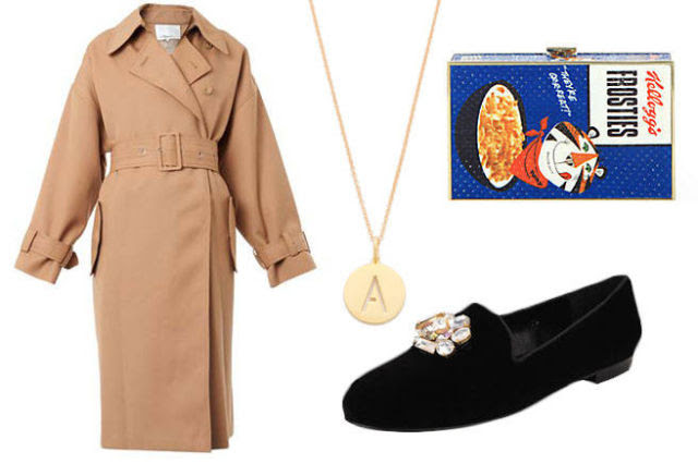 Anya Hindmarch Imperial Frosted Flakes Printed Snakeskin Clutch, $1,595; saksfifthavenue.com   3.1 Phillip Lim Oversized wool trench coat, $1,175; matchesfashion.com Sarah Chloe Eva Engraved Pendant Necklace, $98; shopbop.com  Jon Joseph Gatsby, $300; simplysoles.com   Repetto Lio patent-leather Mary Jane ballet flats, $335; net-a-porter.com