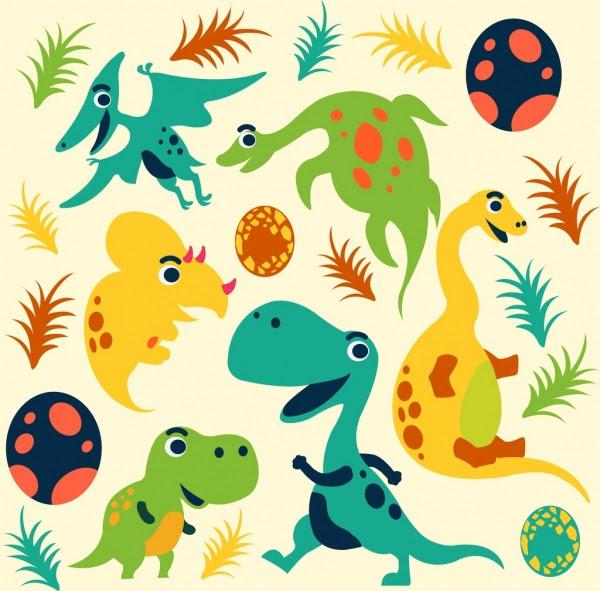 Dinosaurus Ikon Kartun Lucu Latar Belakang Warna Warni Sketsa Vektor