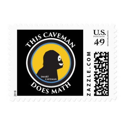 $0.49 Postage Stamps Smart Caveman Does Math