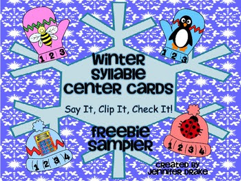 Winter Syllable Center Cards ~FREEBIE SAMPLER~