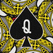 Round Playing Card Queen of Spades