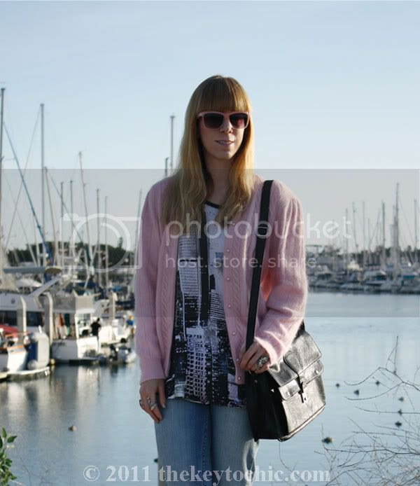 Asos city print top, vintage pink cardigan, Nordstrom sathcel, California fashion blog