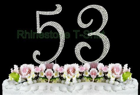 Large Rhinestone NUMBER (53) Cake Topper 53th Birthday