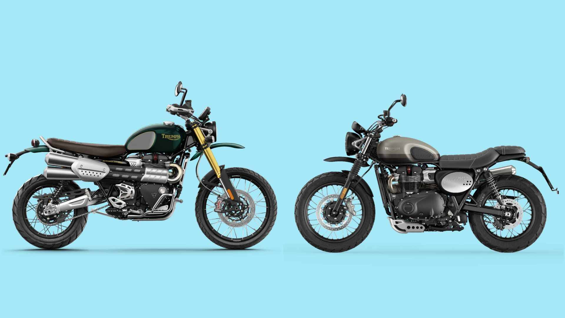 Just 1,000 examples of the Triumph Scrambler 1200 Steve McQueen edition (left) will be produced, and just 775 examples of the Street Scrambler Sandstorm will be built. Image: Triumph Motorcycles/Tech2