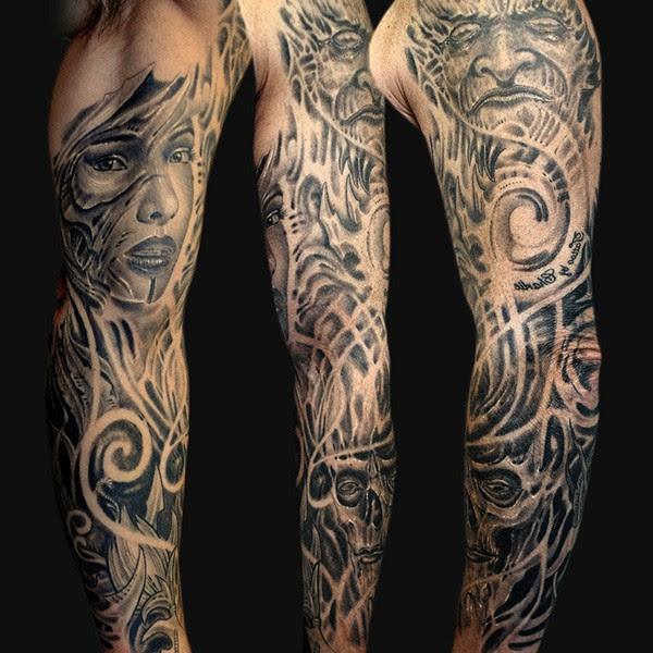 Black And White Tattoo On Girl Full Sleeve