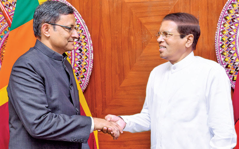 Visiting Indian Defence Secretary Sanjay Mitra called on President Maithripala Sirisena at the President's official residence yesterday morning. (Picture courtesy Presidents Media Unit)