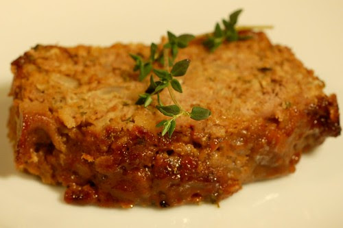 Maple-glazed meatloaf with thyme and rolled oats by Eve Fox, Garden of Eating blog